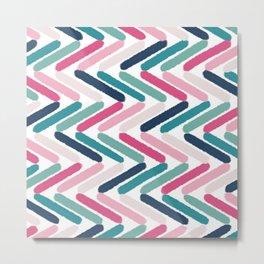 Chevron herringbone pink blue green geometric pattern Metal Print