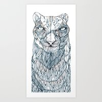 snow leopard Art Prints featuring snow leopard by Eric Tiedt