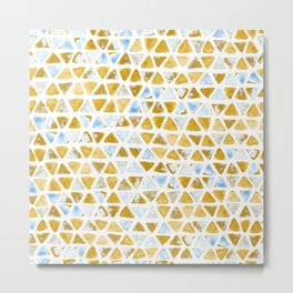 Triangle Watercolor Seamless repeating Pattern - Blue & orange  - grunge effect Metal Print