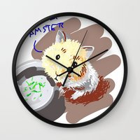 hamster Wall Clocks featuring Hamster by wingnang