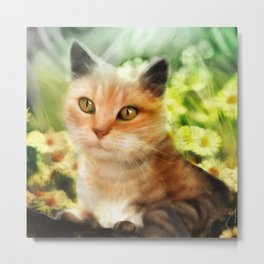 """Kitty in the sunlight field"" Metal Print"
