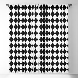 Black White Argyle Pattern Geometric Blackout Curtain
