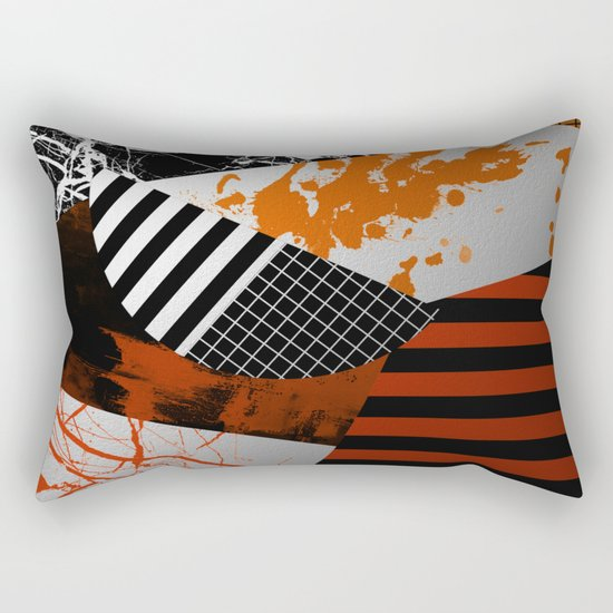 Metallic Pieces - Rustic, Abstract, metallic, textured black, white and gold artwork Rectangular Pillow