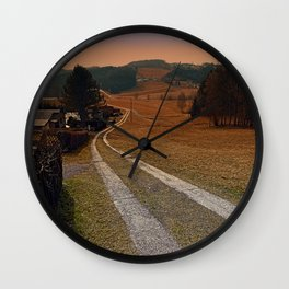 Scenery and a pathway into dawn | landscape photography Wall Clock