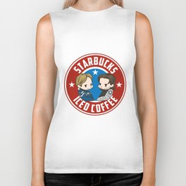 Starbucks - Steve Rogers and Bucky Barnes Iced Coffee  Biker Tank