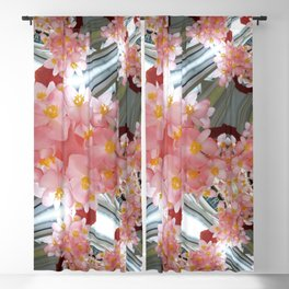 Peach Flower Curves - Abstract Floral Art by Fluid Nature Blackout Curtain