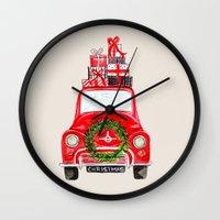 craftberrybush Wall Clocks featuring Red Christmas Car  by craftberrybush