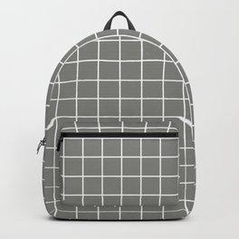 Battleship grey - grey color - White Lines Grid Pattern Backpack