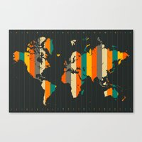 world map Canvas Prints featuring WORLD MAP by Jazzberry Blue
