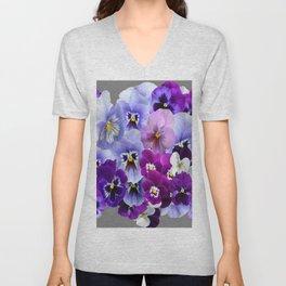 VARIEGATED PURPLE PANSY FLOWERS ART Unisex V-Neck