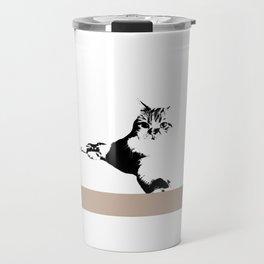 Black White Cat Travel Mug