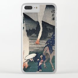 Hiroshige Travellers lighting their pipes by a fire Clear iPhone Case