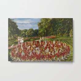 A walk in the park and formal flower gardens by Thomas Edwin Mostyn Metal Print