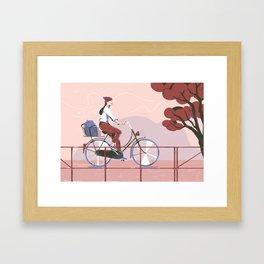 Biking to work Framed Art Print