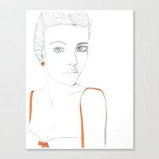 Portrait of Girl with Orange Canvas Print