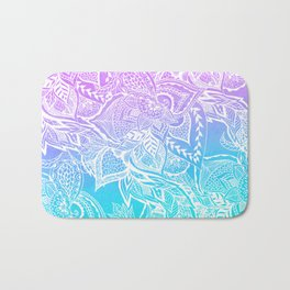 Modern purple turquoise mermaid watercolor floral white boho hand drawn pattern Bath Mat
