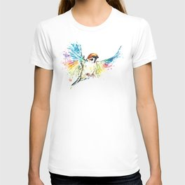 Colorful Sparrow Watercolor Painting T-shirt
