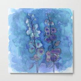 Blue Hollyhock Foxglove Minimalist Watercolor Metal Print