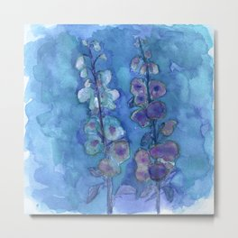 Blue Hollyhock Foxglove Minimalist Watercolor Metal Print