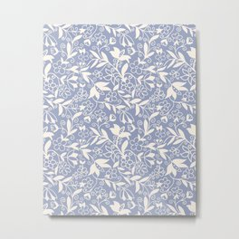 Soft Blue and White Floral Pattern  Metal Print