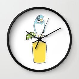 Parakeets like lemonade Wall Clock