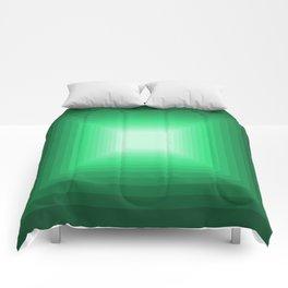 Green Square Gradient Comforters