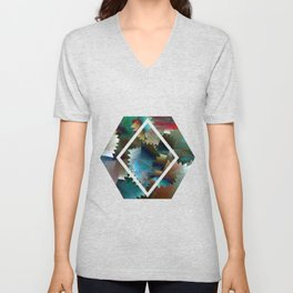 Tribal Octagon Vibes Textured Home Goods Urban Pattern Unisex V-Neck