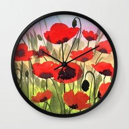 Poppies at Sunset Wall Clock