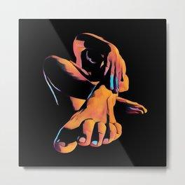 1701s-SKG Toes Feet Fingers Forward Deep Color Nude by Chris Maher Metal Print