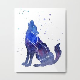Galaxy Wolf Lupus Constellation Metal Print