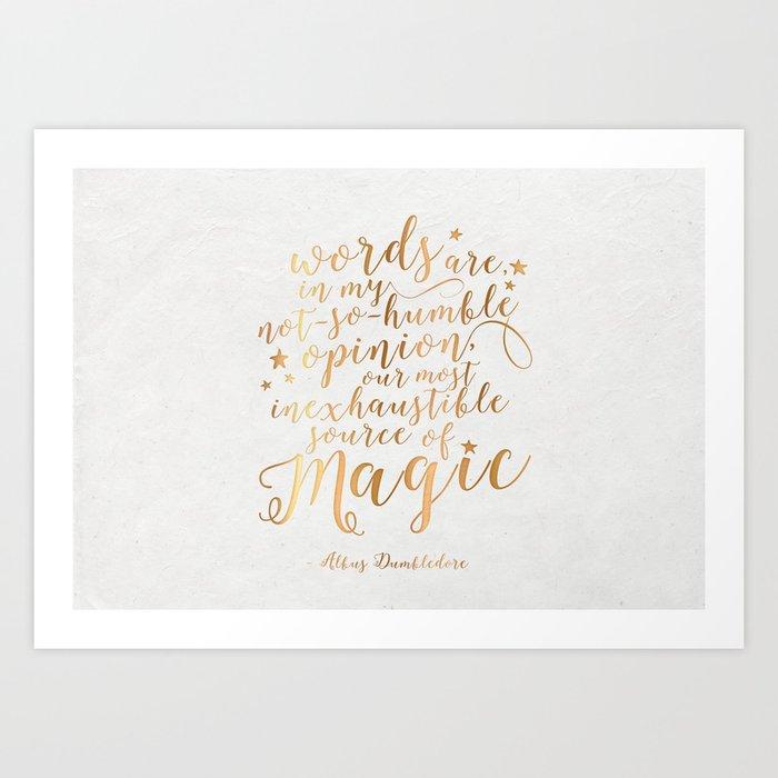 Dumbledore's Magic Words Art Print