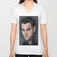 leonardo dicaprio V-neck T-shirts featuring DiCaprio Caricature by Stevie Ray Thompson