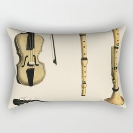 Musik (1850) published in Copenhagen a vintage  of a violin classical guitar and flute variants Rectangular Pillow