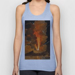 Mount Vesuvius erupting at night, billowing clouds and flashes of lightning Unisex Tank Top
