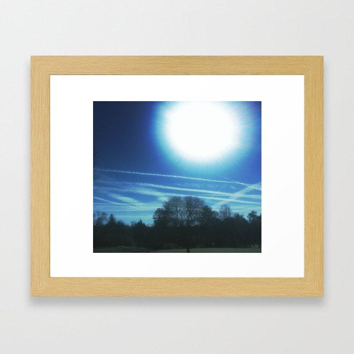 a midday chem sky Framed Art Print