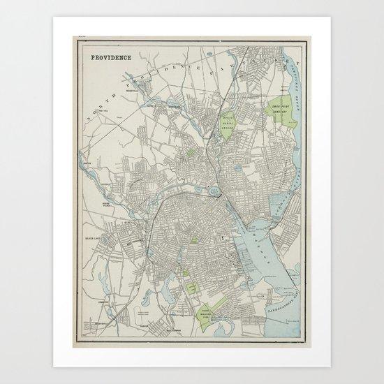 Vintage Map of Providence Rhode Island (1901) by bravuramedia