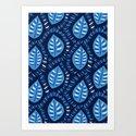 Beautiful Decorative Blue Leaves Pattern by borianagiormova