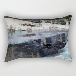 Frits Thaulow Winter at the River Simoa Rectangular Pillow