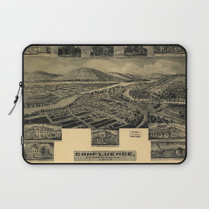 Aerial View of Confluence, Pennsylvania (1905) Laptop Sleeve