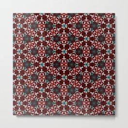 Dark Red and Green Flower Pattern Metal Print
