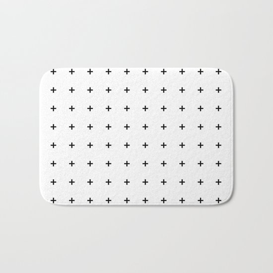 Black Plus on White /// www.pencilmeinstationery.com Bath Mat