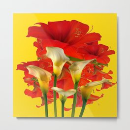 RED AMARYLLIS & CALLA LILY HOLIDAY FLORALS Metal Print