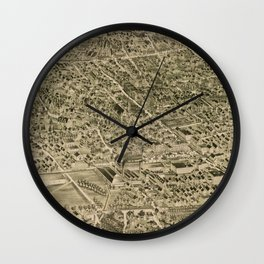 Vintage Pictorial Map of Jamaica Plain MA (1891) Wall Clock