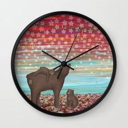 brown bears and stars Wall Clock