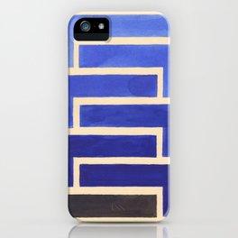 Vintage Blue Geometric Watercolor Painting iPhone Case