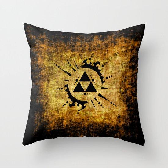 Zelda Throw Pillows : Legend Of Zelda Triforce Grunge Throw Pillow by Reyleigh Society6