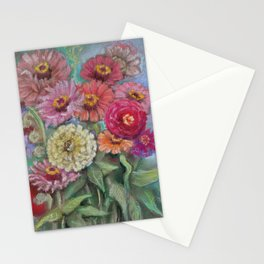 Autumn FLOWERS in the garden Still Life Pastel drawing Pink Purple Decorative Painting Stationery Cards