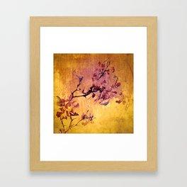 japanese crab apple flowers on golden tones Framed Art Print