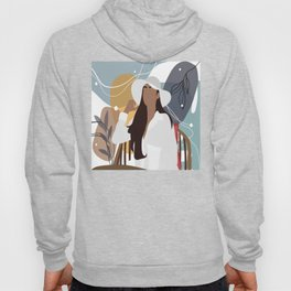 Elegance in white. Abstract Line art illustration of young beautiful afro american woman Hoody