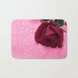 Rose over pink abstract background with bokeh defocused lights Bath Mat